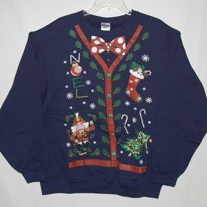 Ugly Christmas Sweatshirt Blue Size Large NWOT